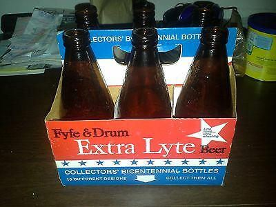 Fyfe & Drum Extra Lyte '76 Bicent. Beer Bottles 6 Diff.With Orig.Carrier NY USA
