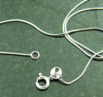 """925 sterling Silver square snake necklace chain 0.8mm thickness 17"""" length S1018"""