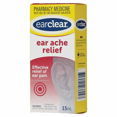 EARCLEAR EAR ACHE RELIEF 15ml EFFECTIVE RELIEF OF EAR PAIN EAR CLEAR
