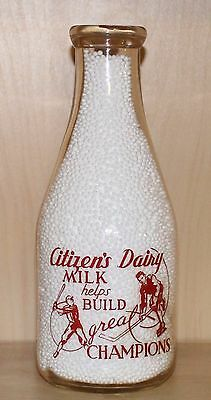 Very Rare - Citizen's Dairy - Quart - Milk Bottle - Belleville, Ontario