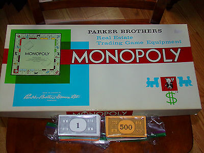 1961 Parker Brothers Monopoly Complete Board Game + LARGE LOT OF VINTAGE MONEY