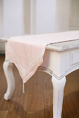Table Runner Pink with Embroidery Home Decor Party Decoration 150cms NEW