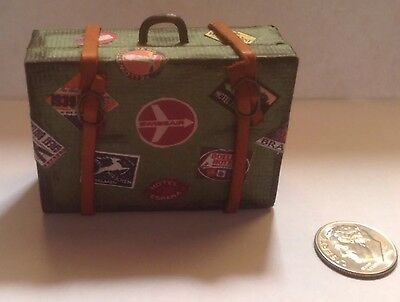 Miniature Green Suitcase with Travel Stickers Handmade 1:12 Dollhouse