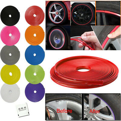 8M Car Motorcycle Bike Wheel Tire Decal Sticker Rim Trim Protector Stripe Tape