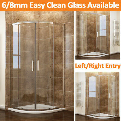 Quadrant Shower Cubicle and Tray 8mm Easy Clean Glass Walk in Shower Enclosure