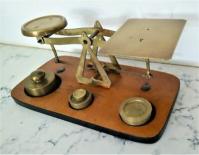 Vintage YOUNG ATOM BRASS timber UK ? postal BALANCE letter SCALES  + 4 WEIGHTS