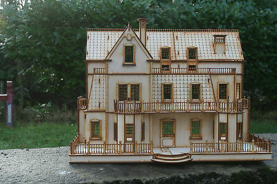 Laser cut ply wood wooden Dolls house Gothic Villa 3mm Kit