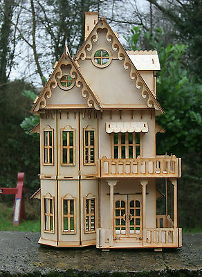 Laser cut ply wood wooden Dolls house Gothic Villa Kit 1:24