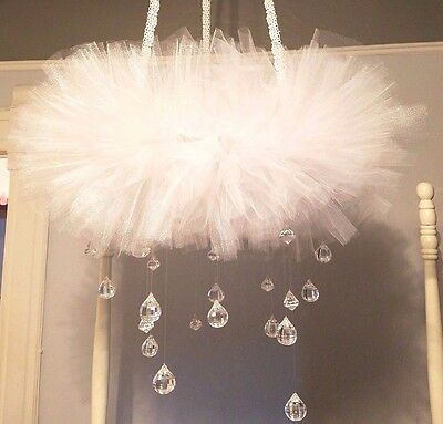 White Crib Mobile w/crystals Tutu Mobile - Baby mobile- Baby shower GIFT