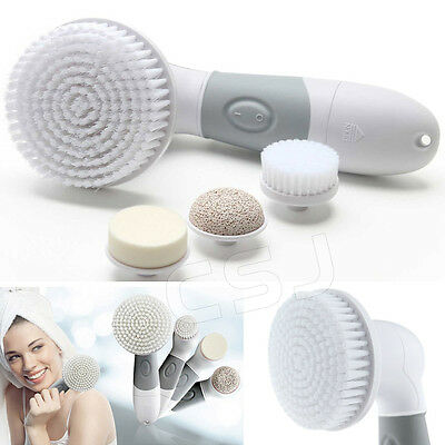 4-in-1 Electric Facial Cleansing Brush Set Soft Scrubber Face Body Exfoliating