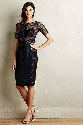 0d2755340546 NWT Anthropologie Byron Lars Carissima Sheath Dress Navy Size 12 Petite