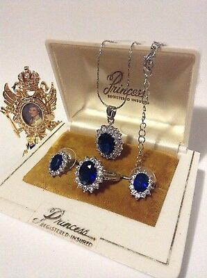 Princess Di Style Sapphire Jewelry Set Ring Earrings Pendant Sterling Silver 925