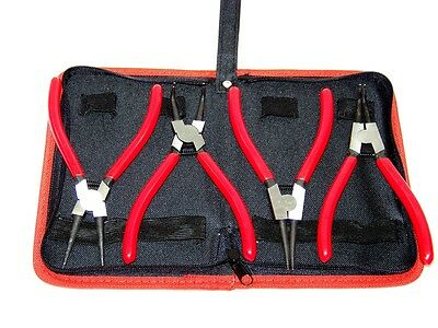 "Heavy Duty 4pcs 7"" Circlip Plier Snap Ring Plier External Internal with Pouch"