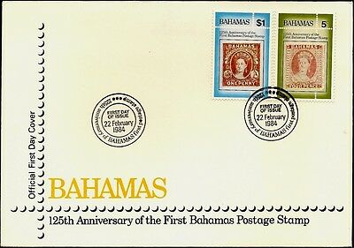 BAHAMAS (C51) 125th anniversary of the first Bahamas stamp. Official FDC