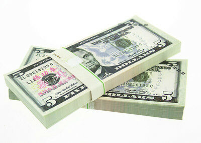 5 Dollars Paper Money USA New 100pcs/lot Training Collect Learning Banknotes