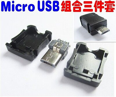10Pcs Micro USB 5 Pin T Port Male Plug Socket Connector Plastic Cover case