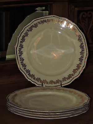5 x Vintage ALFRED MEAKIN England Scallop Rim Gold Pattern Dinner Plates