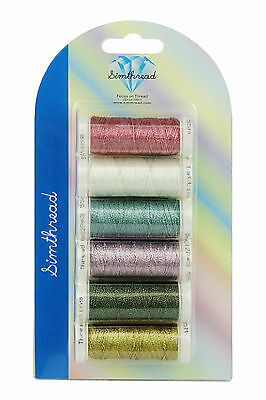 SIMTHREAD Brilliant Colors Metallic Tatting Thread 3 Ply, 6pcs/kit 50M/pc