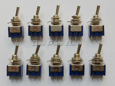 10PCS Mini 6A 125VAC SPDT MTS-102 3-Pin 2 Position On-on Toggle Switches M111
