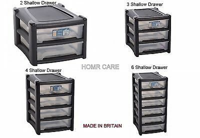 Wham Plastic Shallow A4 Drawer Storage Unit Cabinet Office Bedroom Organizer