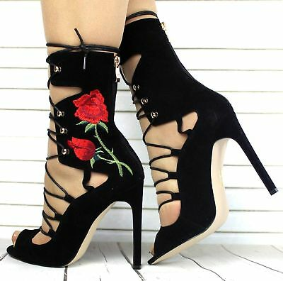 Womens Ladies Black Concealed Platform High Heel Stiletto Ankle Boots Shoes Size