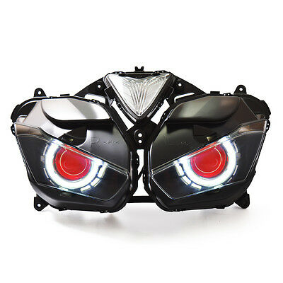 KT LED Angel Halo Eyes Projector Headlight Assembly for Yamaha YZF R25 2015+ Red