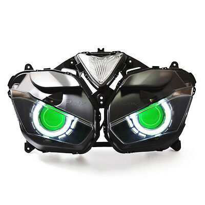 KT LED Angel Halo Eyes Projector Headlight Assembly for Yamaha R25 2015+ Green
