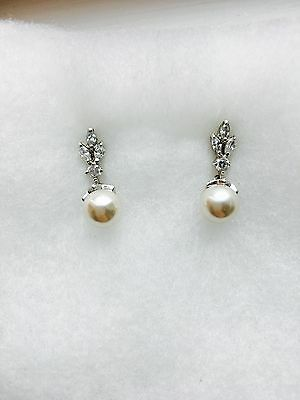 Olivier Laudus Acacia Pearl Drop and Cubic Zirconia bridal earrings