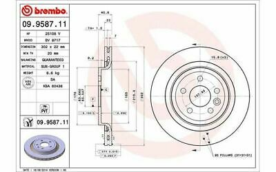 2 Stück Brembo 09.9587.11 Bremsscheibe COATED DISC LINE