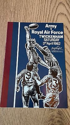 Army v Royal Air Force 1982 Rugby Union Programme