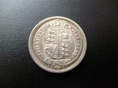 1887 Queen Victoria Jubilee Head Silver Sixpence In Good Condition.
