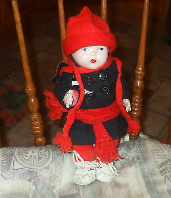 Vintage-Reliable-Composition-DOLL-CANADA- FRENCH DRESSED, 1930s