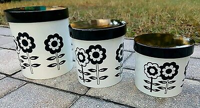 Retro MOD NESTING Canister Set of THREE BLACK & WHITE  flowers