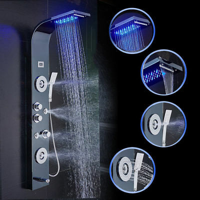 Black Shower Panel Tower Rain&Waterfall W/ Massager Bodys System Jets Mixer Tap