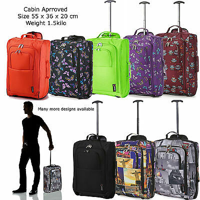 Lightweight Cabin Flight Bag Wheeled Hand Luggage Holdall Travel Suitcase Bag