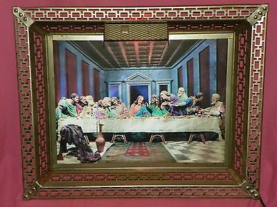 3D Hologram Last Supper Picture Light Up With Brass Frame