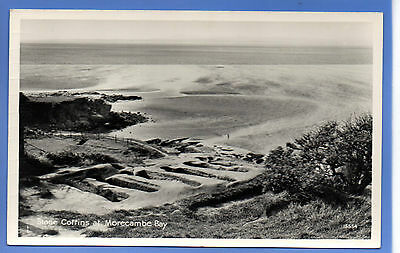 Old Vintage Rp Postcard Stone Coffins At Morecambe Bay Lancashire
