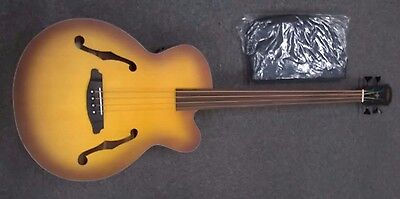 Aria Elecord FEB Fretless Electro Acoustic Bass Guitar, satin finish, sunburst