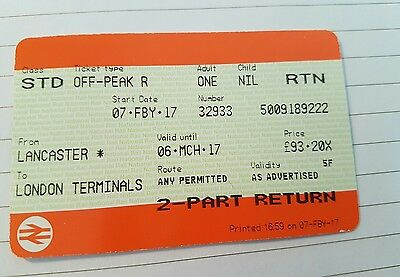 Lancaster To London Euston Off Peak Valid Until 6Th March