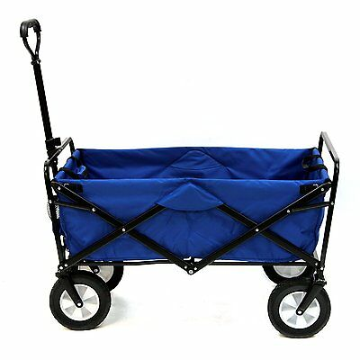 Mac Sports Collapsible Folding Outdoor Utility Wagon Blue Foldable Cart Garden