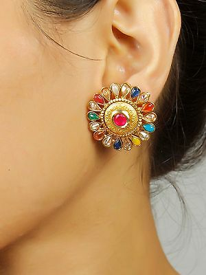 7268 Ethnic Gold Plated Indian Bollywood Traditional Jhumka Jhumki Jewelry Set