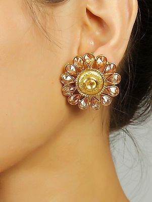 7260 Ethnic Indian Bollywood Style Wedding Jewelry Gold Plated Polki Earring Set