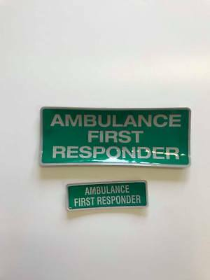 Encapsulated reflective 250mm badge set AMBULANCE FIRST RESPONDER slide in style