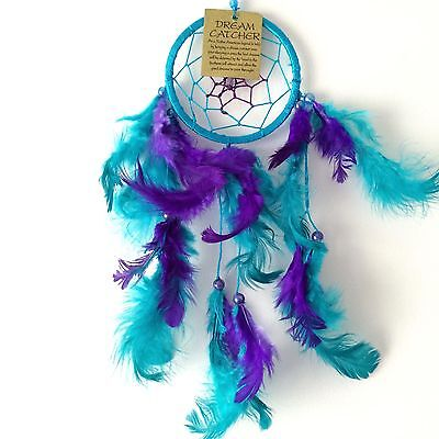 New Purple And Turquoise Blue Dream Catcher Native American Hanging Mobile