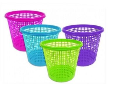 New Colourful Plastic Mesh Waste Paper Basket Bedroom Office Rubbish Bin Kids