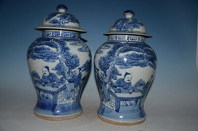 Fine Chinese Pair Blue White Porcelain General Tank Pot
