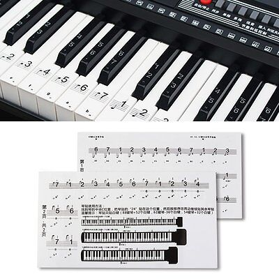 88 Key Piano Numbered Musical Notation Transparent Piano Keyboard Sticker GT