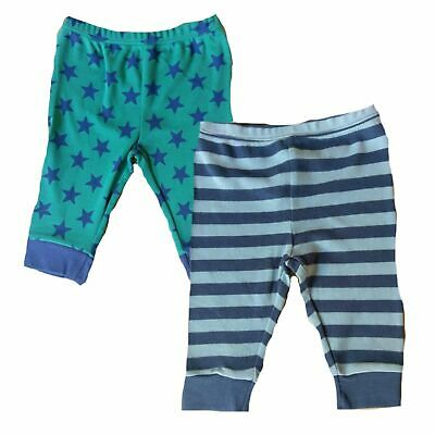 Baby 2 pack Star Stripes joggers jogging leggings  0/3 3/6 6/9 9/12 m green blue