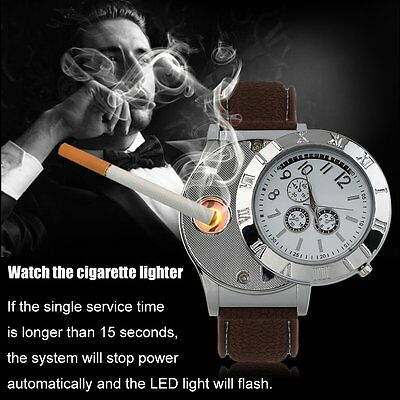 Environmental Electronic Lighter Quartz Watch USB Rechargeable Lighter GA