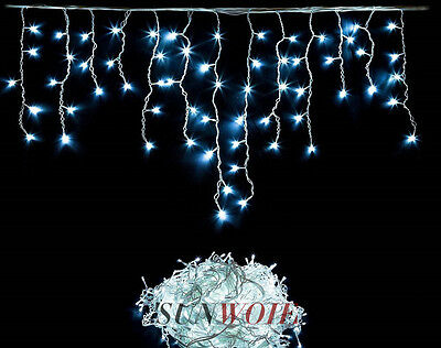 Uk Led Icicle Lights White Christmas Xmas Outdoor Lighting Snowing Snowflakes